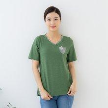 마담4060 엄마옷 브이넥배색티셔츠-ZTE005030-