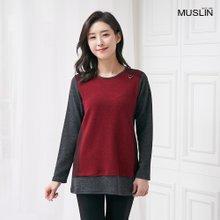 엄마옷 모슬린 비조 배색 포인트 티셔츠 TS910062