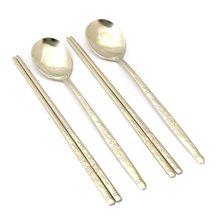 [박씨상방]금장 티타늄 커플 수저세트(2벌)-송학