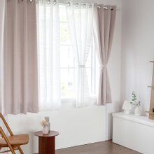 까르데코 노르딕솔리드+코코체크 창문형 커튼 4장세트