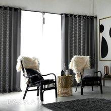 [바자르] 그레이라인 아일렛 암막커튼(270x235)2장+끈+블랙봉