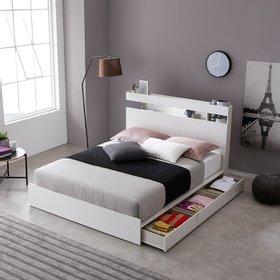 나무뜰 코튼 LED조명 수납 침대 양면 매트리스 Q WNT215