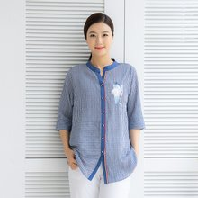 마담4060 엄마옷 모던스트라이프셔츠-ZBL005032-