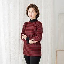 마담4060 엄마옷 줄무늬목주름티셔츠 ZDTE909001