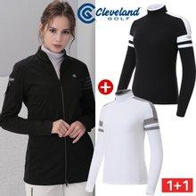 여성코디 [클리브랜드골프] 여성 롱 바람막이 자켓 + 컬러블록 기모 긴팔티셔츠/골프웨어_CG659620