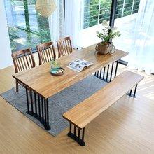 우드인미 박달나무 6인 원목식탁 세트2100B-as_도토리/의자포함/6인용식탁/원목식탁테이블/카페테이블