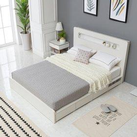 나무뜰 스칸젠 LED조명 수납 침대 양면 매트리스 Q WNT232