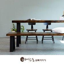 해찬솔 소나무 통원목 에코 원목책상세트 2000_DA/벤치의자포함/원목테이블/우드슬랩/카페테이블