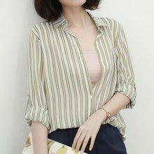 [웬디즈갤러리]쉬폰 줄지 셔츠 블라우스 RBL004