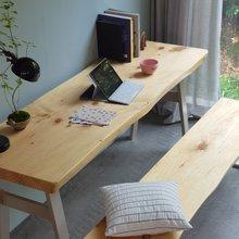 해찬솔 소나무 통원목 에코 원목책상세트 1800_OB/벤치의자포함/원목테이블/우드슬랩/카페테이블