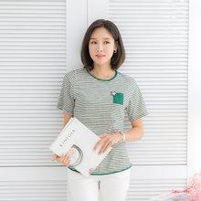 마담4060 엄마옷 은별포켓줄지티셔츠 QTE906030