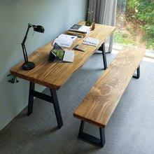 해찬솔 소나무 통원목 에코 원목책상세트 1800_DA/벤치의자포함/원목테이블/우드슬랩/카페테이블