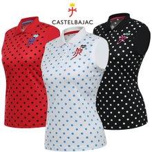 [까스텔바작] 폴리스판 도트패턴 여성 카라넥 민소매 티셔츠/골프웨어_BG7MTN702