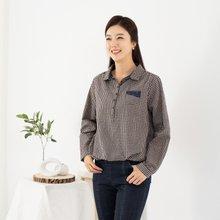마담4060 엄마옷 체크끈단추티셔츠 QTE908020