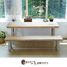 해찬솔 소나무 통원목 에코 원목책상세트 1600_OB/벤치의자포함/원목테이블/우드슬랩/카페테이블