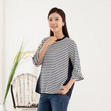 마담4060 엄마옷 가로줄배색티셔츠 QTE908019