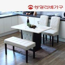 상일리베가구투나인 대리석 4인식탁 의자2개+벤치1개