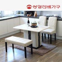 상일리베가구리타인 대리석 4인식탁 의자2개+벤치1개