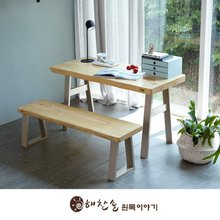 해찬솔 소나무 통원목 에코 원목책상세트 1300_OB/벤치의자포함/원목테이블/우드슬랩/카페테이블