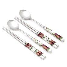 [박씨상방]도자기 2벌 수저세트BSF(종이케이스)-장미사각