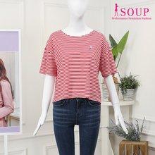 SOUP 스트라이프 임브로이더드 티셔츠(ST5ST4E)