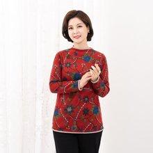 마담4060 엄마옷 겨울꽃배색티셔츠-ZTE911030-