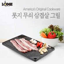 [공식수입정품] LODGE 롯지 삼겹살 그릴/숯불구이/캠핑그릴/고기불판/무쇠 그릴팬 LSAM3