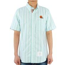 [톰브라운] 스트라이프 옥스포드 MWS239E 06120 350 남자 반팔 셔츠 스트레이트 핏