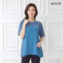 엄마옷 모슬린 무지 배색 라운드 티셔츠 TS006023