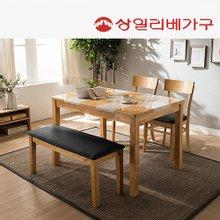 [상일리베가구]클라라 대리석 4인식탁(가죽벤치+의자)