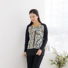 마담4060 엄마옷 체인배색티셔츠-ZTE002036-