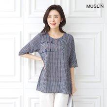 엄마옷 모슬린 고양이스트라이프포켓 티셔츠 TS006019