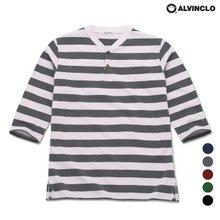 [앨빈클로]AST-3238 7부 헨리넥 스트라이프 티셔츠
