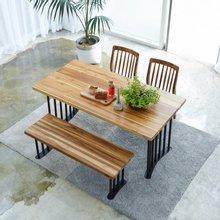 해찬솔 티크원목 4인용 원목식탁 세트1400B-as/의자포함/4인용식탁/원목식탁테이블/카페테이블