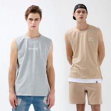 [1+1]남녀공용 캐주얼 로고프린팅 민소매 티셔츠 2종세트