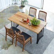 해찬솔 티크원목 4인용 원목식탁 세트1600A-as/의자포함/4인용식탁/원목식탁테이블/카페테이블