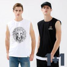 [1+1]남녀공용 캐주얼 프린팅 민소매 티셔츠 2종