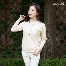 엄마옷 모슬린 하이넥 버튼 폴라 티셔츠 TP910065