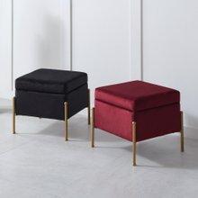 키모 벨벳 사각 수납 스툴 화장대 의자