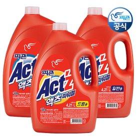 [액츠] (3일만 특가도전! 피죤2100ml증정!)*액츠 왕대용량 세탁 액체세제 4.21Lx3개*