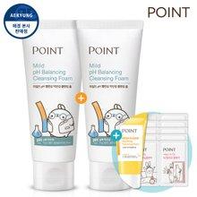 포인트X몰랑 마일드 pH 밸런싱 약산성 클렌징 폼 100mlX2