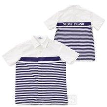 [스톤아일랜드키즈] 로고 스트라이프 681610705 V0020 10A14A 키즈 셔츠 (성인착용가능)