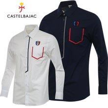 [까스텔바작] 솔리드 포켓 배색 와펜자수 남성 긴팔 셔츠/골프웨어_BG8MSH201