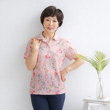 마담4060 엄마옷 분홍꽃카라티셔츠 QTE906037