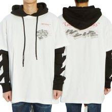 [오프화이트] 골든 라티오 더블 티 OMAB033R 20185012 0188 남자 기모 후드 긴팔 맨투맨 티셔츠