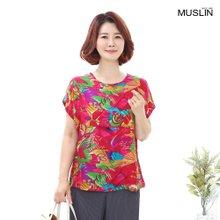 엄마옷 모슬린 여러무늬 핫핑크 인견 티셔츠 TS007009