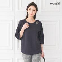 엄마옷 모슬린 심플리 7부 라운드 티셔츠 TS003307