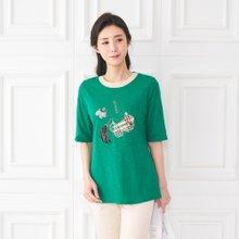엄마옷 모슬린 나들이 배색 라운드 티셔츠 TS003311