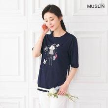 엄마옷 모슬린 산책 라운드 티셔츠 TS003309