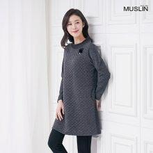 엄마옷 모슬린 밍크 브로치 롱티셔츠 TP910088